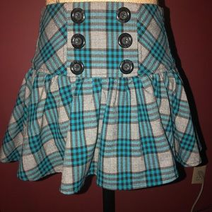 Plaid Blue corset skirt pleated Size 1 punk goth